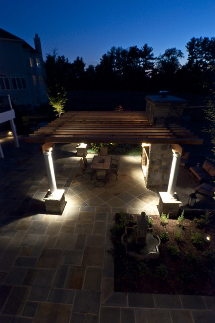 Flagstone Patio With Landscape Lighting Patio
