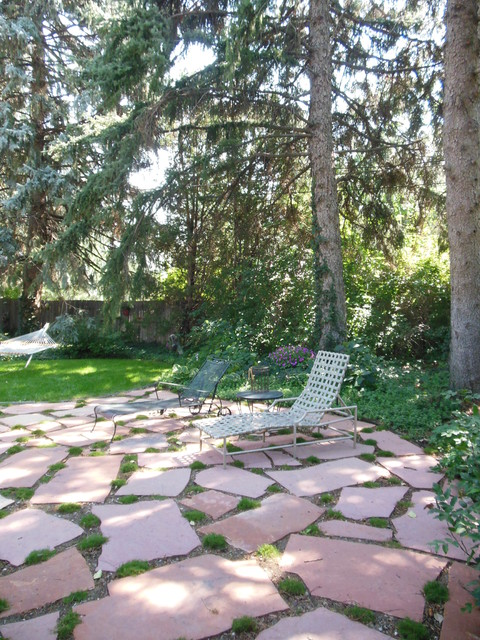 Flagstone Patio With Moss Traditional Patio Denver