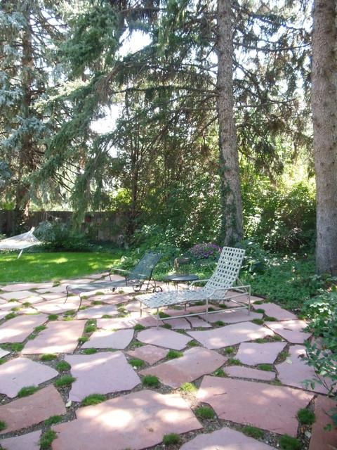 Flagstone Patio With Moss Traditional Patio Denver
