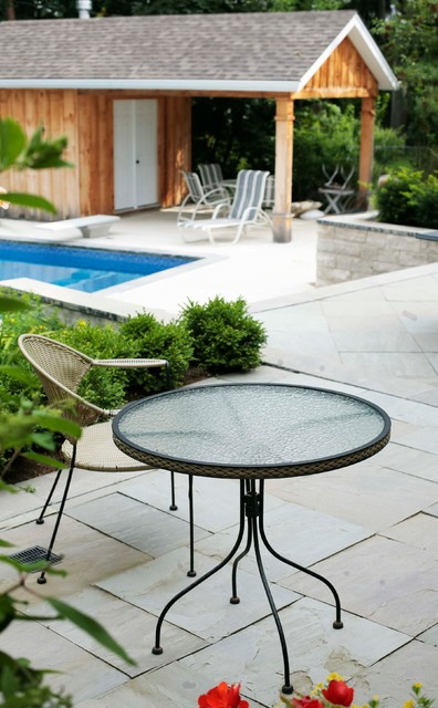 Backyard Enclosures Lombard : Flagstone Patio with Pool Shed  Traditional  Patio  toronto  by