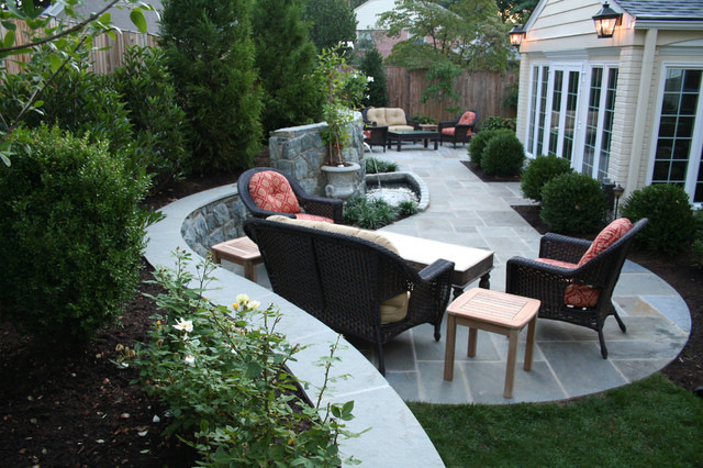Flagstone Patio With Retaining Walls And Water Feature Contemporary Patio