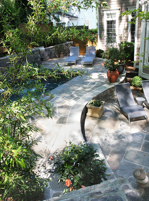 Flagstone Patio With Water Feature Contemporary Patio