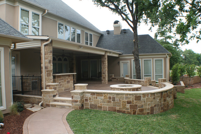 Fort Worth South Lake Covered Patio, Open Patio, Outdoor Kitchen And Fire  Pit Traditional