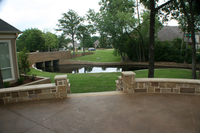 Fort Worth South Lake covered patio, open patio, outdoor kitchen and fire pit traditional-patio