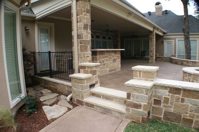 Charming Fort Worth South Lake Covered Patio, Open Patio, Outdoor Kitchen And Fire  Pit Traditional
