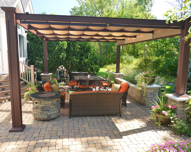 Free Standing Bungalow Bronze Aluminum Structure With Canopies Transitional  Patio