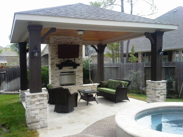 Free standing patio cover w gas fireplace for Freestanding patio cover