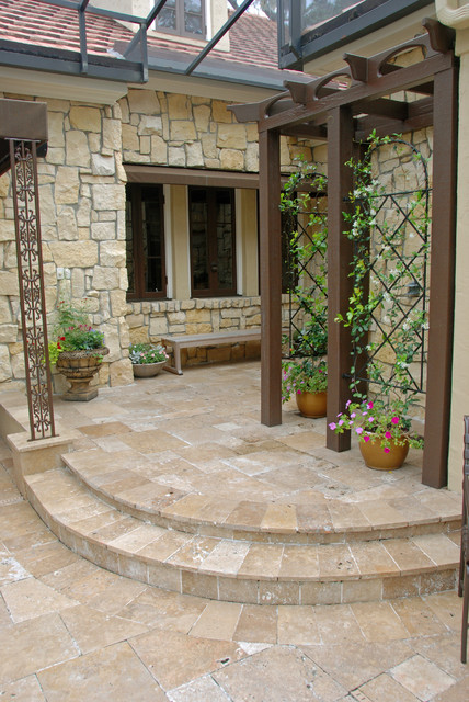 French Country Style Garden traditional-patio