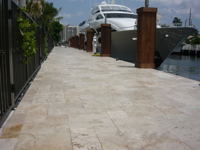 French Pattern Ivory Travertine Patio Tiles and Pavers contemporary-patio