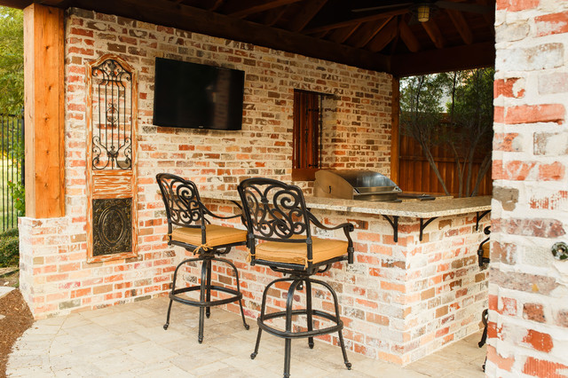 Elegant Inspiration For A Mid Sized Rustic Backyard Concrete Paver Patio Kitchen  Remodel In Dallas With
