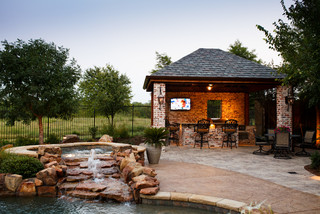 Frisco, TX. New Orleans Style Outdoor Kitchen & Cabana - Rustic