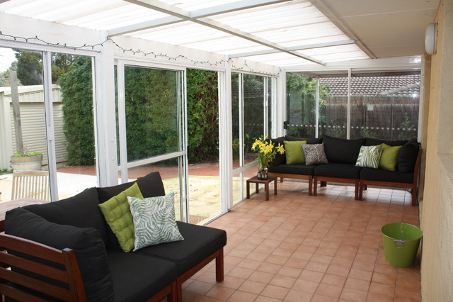From Depressing to Cheerful: Our $2000 Sunroom Makeover traditional-patio