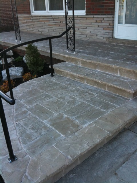 Front Porch Top Flagstone Wet Lay Traditional Patio