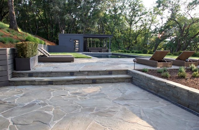 Full Color Bluestone Paving Steps And Wall Contemporary