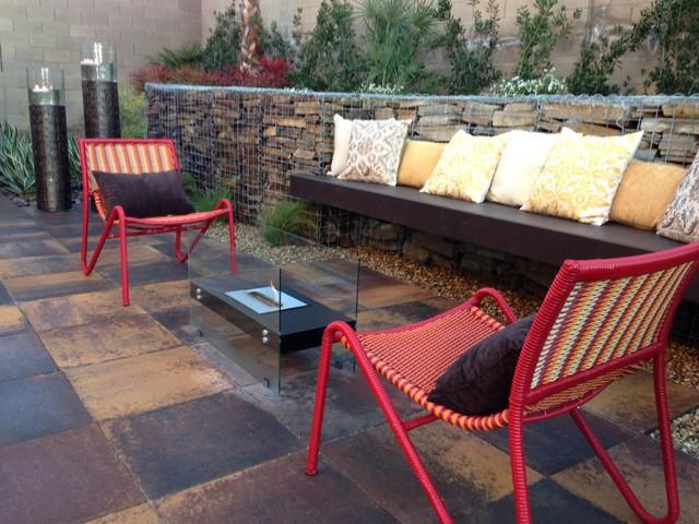 Gabion getaway contemporary patio las vegas by for Pool spa patio show las vegas