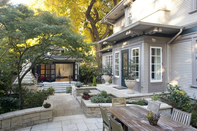 Garage Renovated For Family Play Traditional Patio