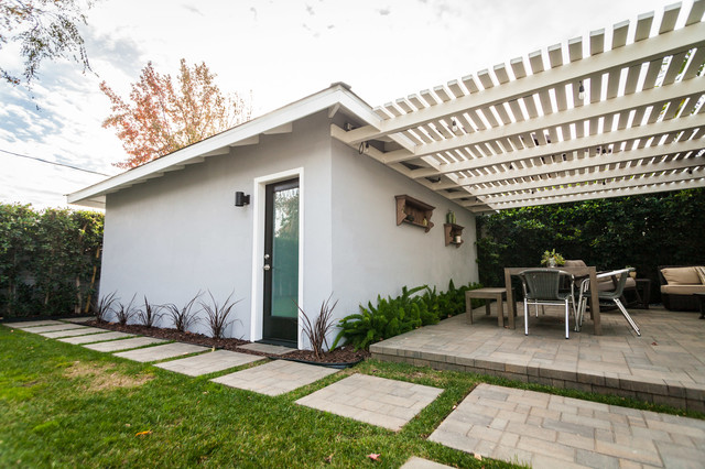Garage Studio Conversion Transitional Patio Los Angeles