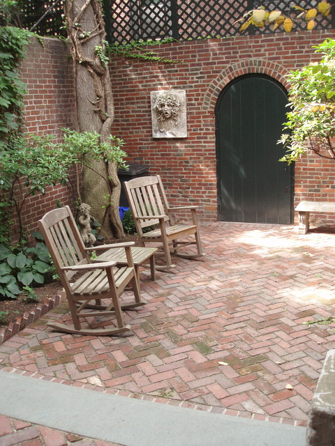 Captivating Garden Level View With Herringbone Patio, Looking Toward Alley Door  Traditional Patio