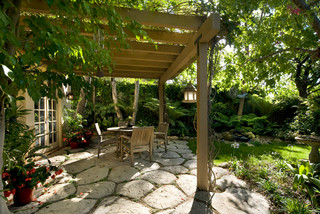 Garden Oasis Patio with Pergola Eclectic Courtyard Santa