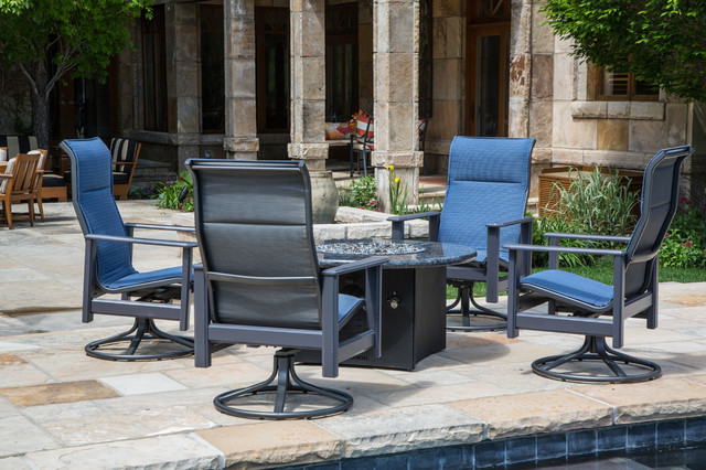 Gas Fire Table with Outdoor Furniture Modern Patio