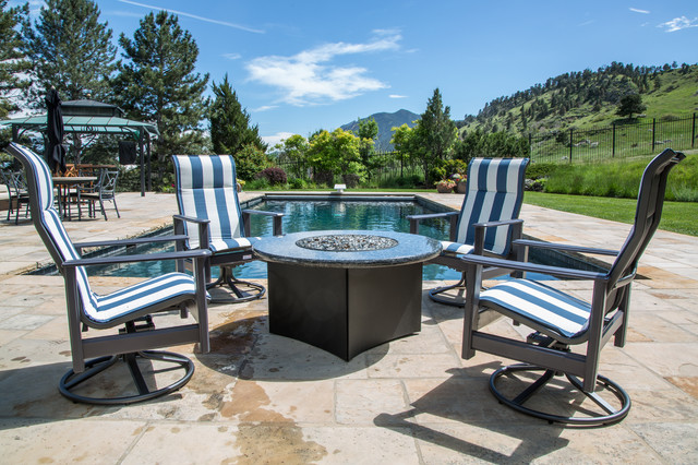 Gas Fire Table With Outdoor Furniture Modern Patio Denver By All Backyard Fun