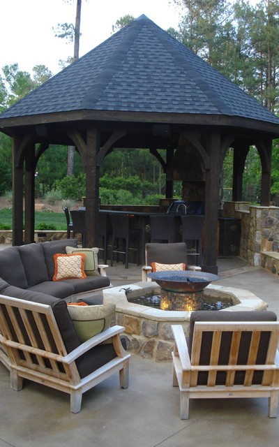 Gazebo And Firepit Traditional Patio Raleigh By Emk Construction Inc Houzz Uk