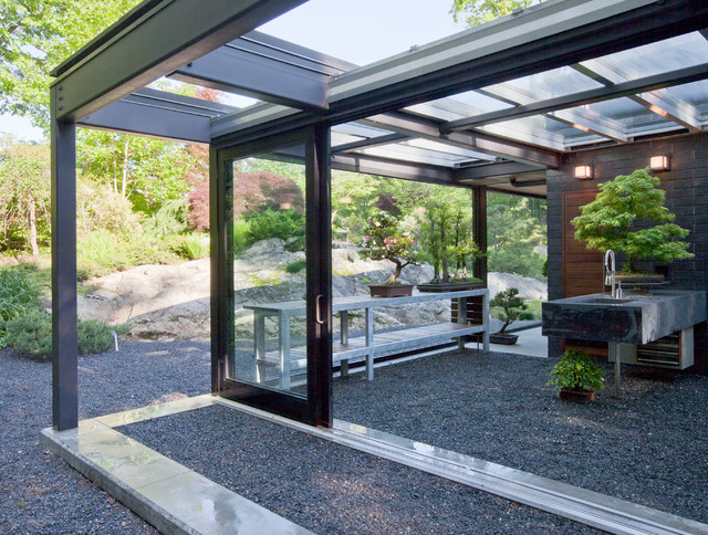 Glass Patio Design Glass House In The Garden Modern Patio Boston By Flavin