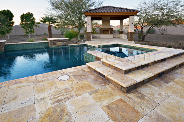 Gold versailles pavers travertine traditional-patio