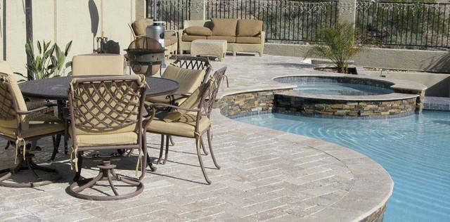 Gorgeous Travertine Pool Deck Traditional Patio