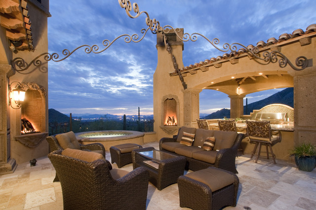Fireplace in Multi-Million Dollar Home Designed by Fratantoni Luxury Estates mediterranean patio