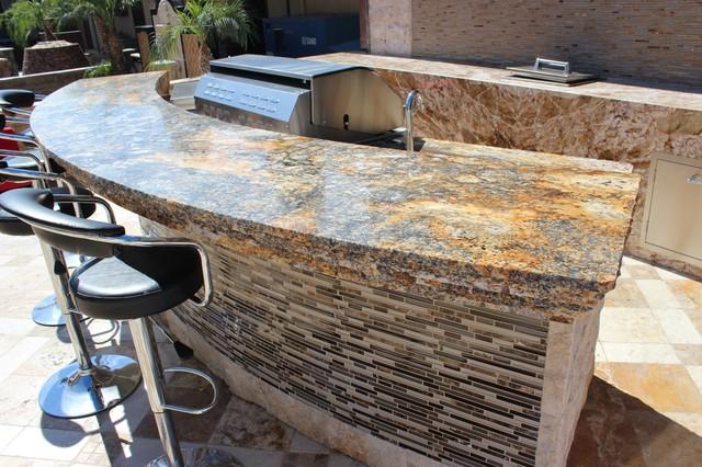 Granite Outdoor Bar Area Traditional Patio