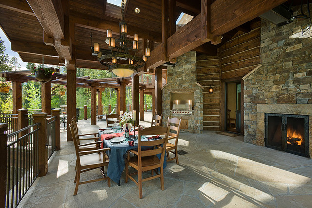 Granite ridge timber frame jackson hole wy traditional for Country outdoor kitchen ideas