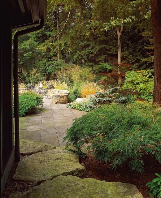 Granite Threshold and Bluestone Terrace rustic-patio