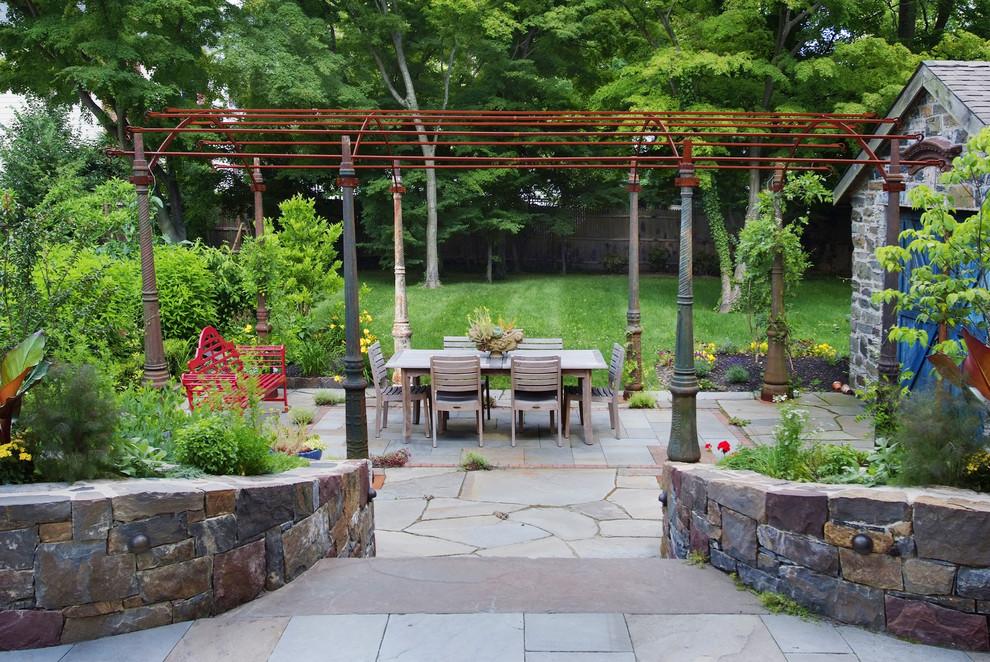 Elegant patio photo in Philadelphia with a pergola