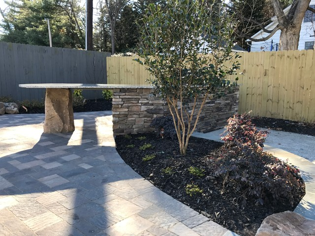 Greensboro nc new raised patio with firepit and outdoor for Landscaping rocks greensboro nc