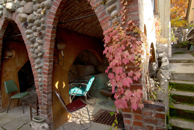 Grotto access stairs and entrance eclectic-patio