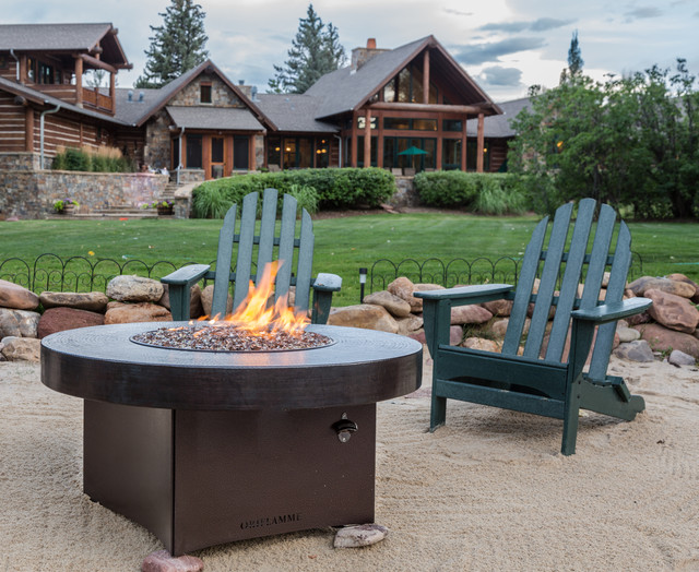 Hammered Copper Gas Fire Table With Outdoor Furniture Rustic Patio