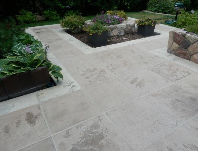 Handcrafted travertine stone patio - Modern - Patio - edmonton - by IntegraStone