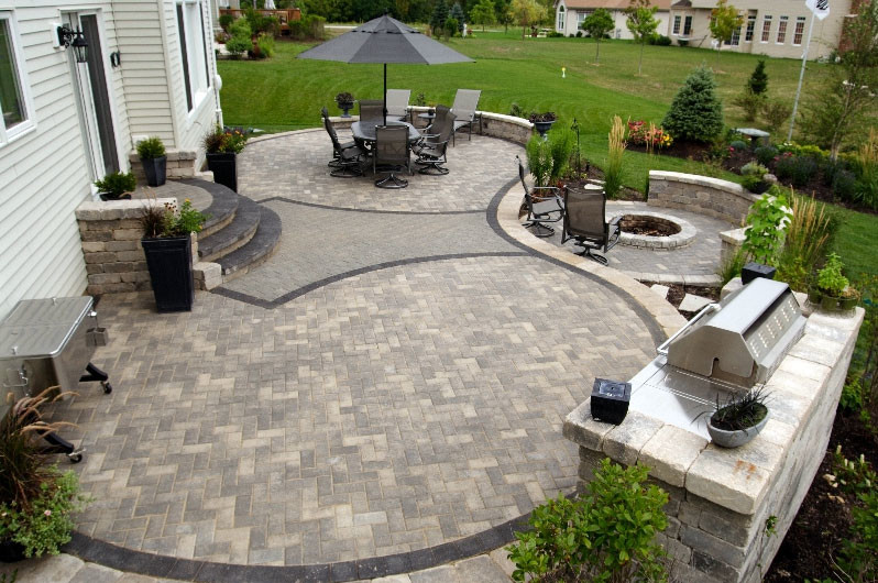 Example of a mid-sized transitional backyard concrete paver patio design in Other with a fire pit