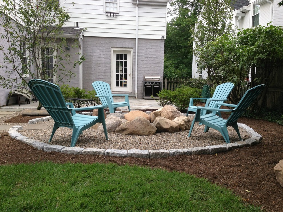 Inspiration for a timeless backyard patio remodel in Cincinnati with a fire pit