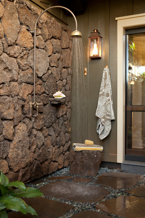 Unique Outdoor Shower Design Tropical Bathroom By Los Gatos Interior Designers Decorators Chelsea