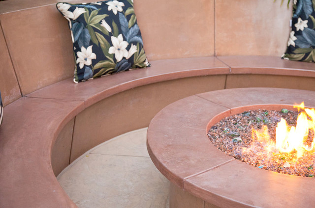 Hawaiian-Style Decorative Concrete Patio w/ Waterfall, Fire Pit ...