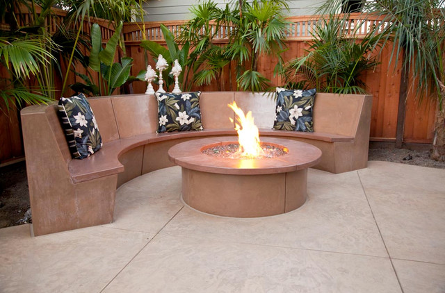 Groovy Hawaiian Style Decorative Concrete Patio W Waterfall Fire Andrewgaddart Wooden Chair Designs For Living Room Andrewgaddartcom