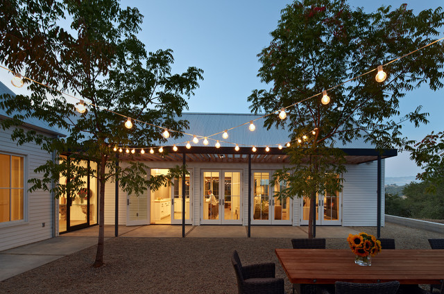 evening courtyard trellis lighting houzz