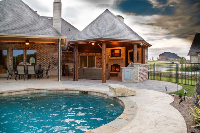 Heath tx outdoor kitchen cabana fireplace rustic for Texas outdoor kitchen ideas