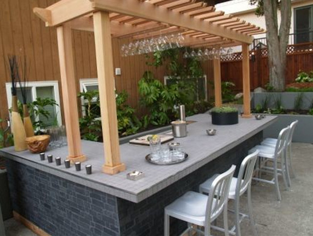 "HGTV's ""Take it Outside"" Outdoor Bar Tile contemporary-patio"