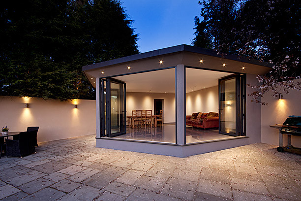 High end residential london contemporary patio for Modern residential lighting