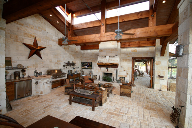 Patio ideas with fireplace - Hill County Patio Veranda Rustic Patio Dallas By John Lively