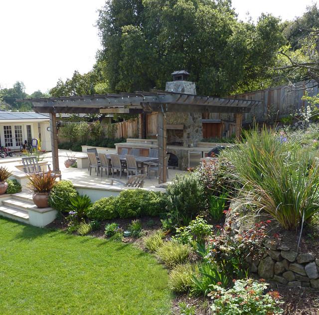 Hillside patio traditional-landscape