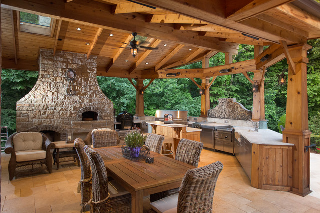 Patio   Large Traditional Backyard Stone Patio Idea In Chicago With A Fire  Pit And A